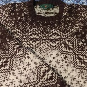 100% wool sweater by J crew size large in brown and cream